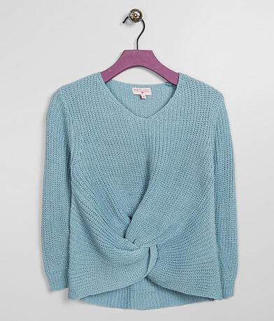 Girls - Poof Twisted Hem Pullover Sweater
