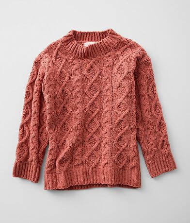 Girls - Poof Chenille Cable Knit Sweater