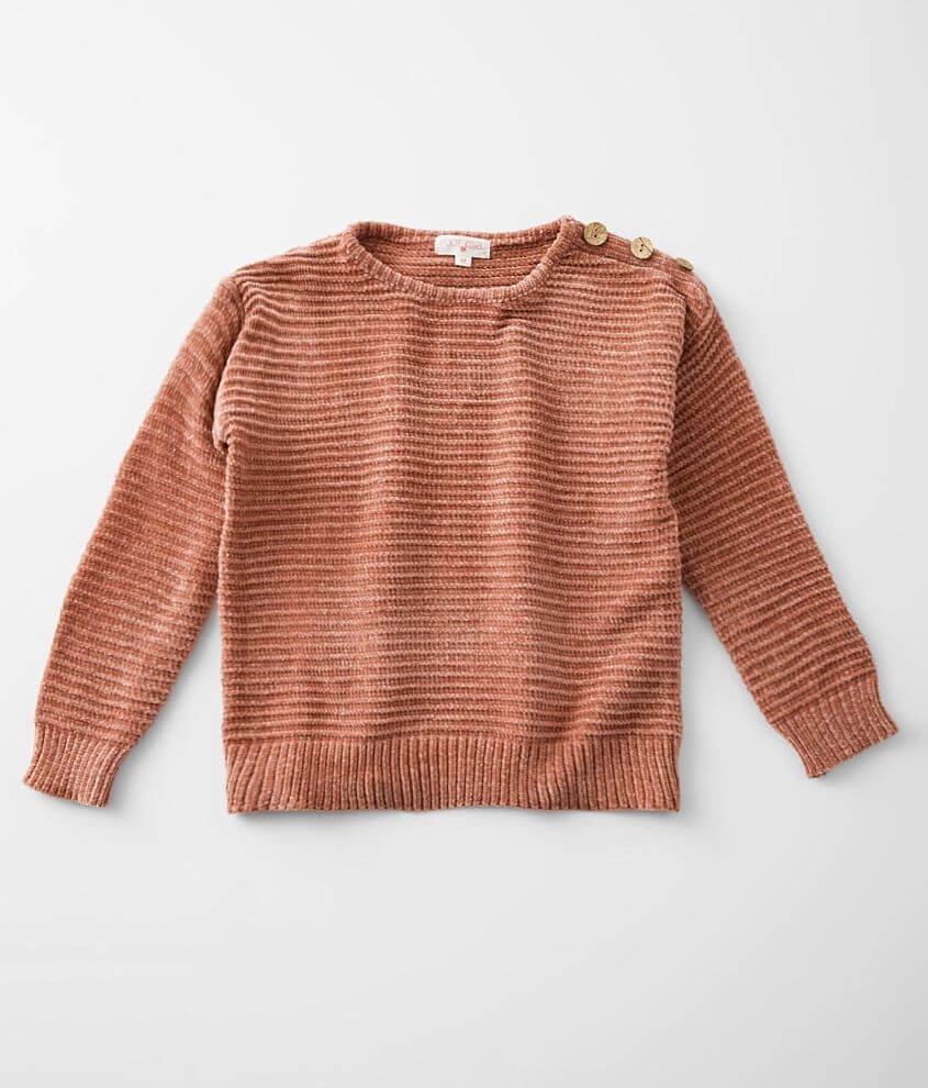 Girls - Poof Chenille Drop Shoulder Sweater front view