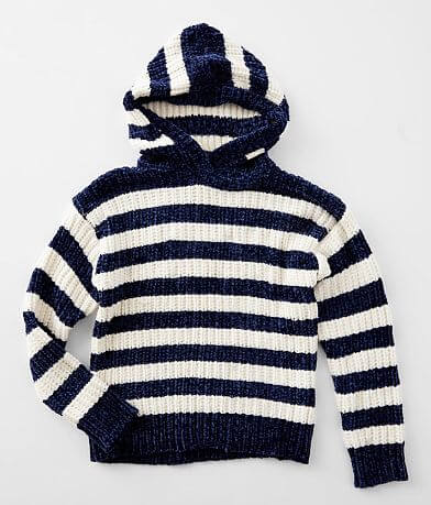 Girls - Poof Striped Chenille Hooded Sweater
