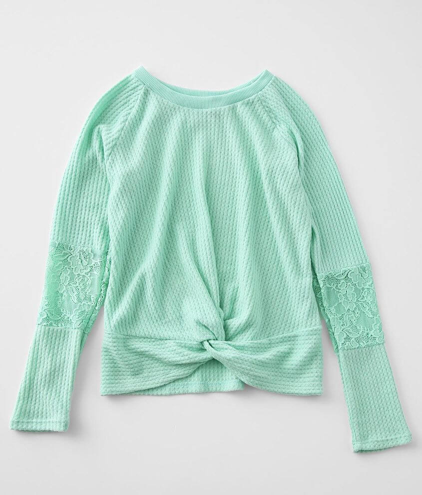 Girls - Daytrip Brushed Waffle Knit Top front view