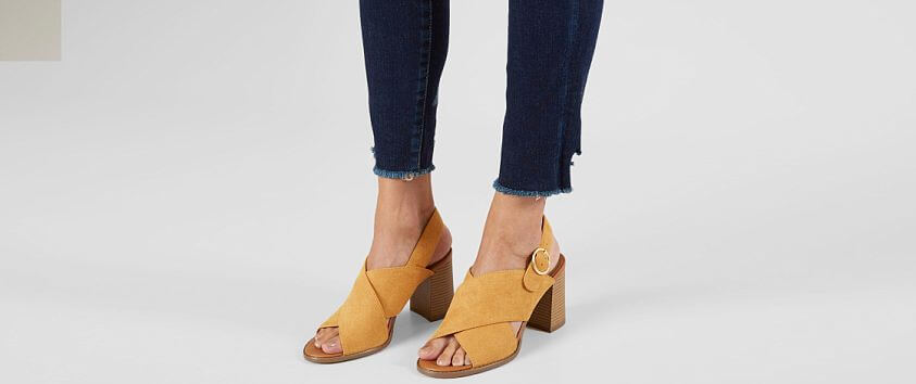 Now or Never Faux Suede Heeled Sandal front view