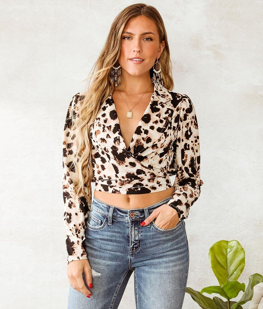 Willow & Root Printed Chiffon Wrap Top front view