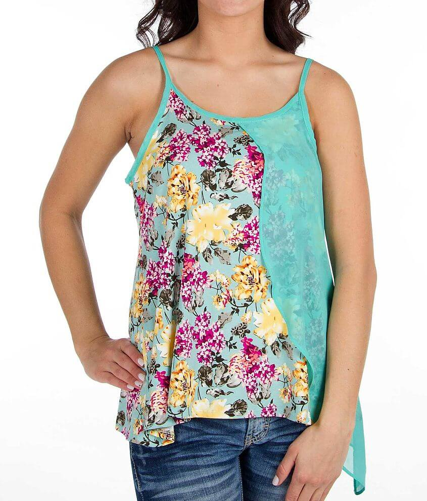 Daytrip Chiffon Overlay Tank Top front view