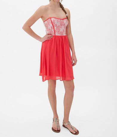 Daytrip Chiffon Overlay Tube Top Dress