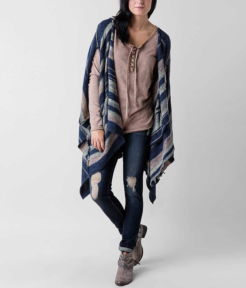BKE Striped Poncho Cardigan Sweater front view