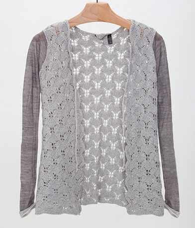 BKE Boutique Open Weave Cardigan Sweater