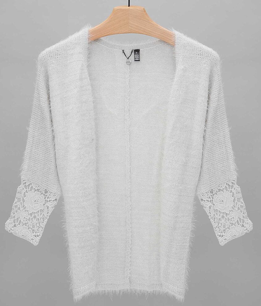 BKE Boutique Open Weave Cardigan Sweater front view