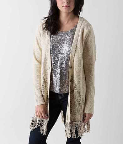 BKE Boutique Fringe Cardigan Sweater