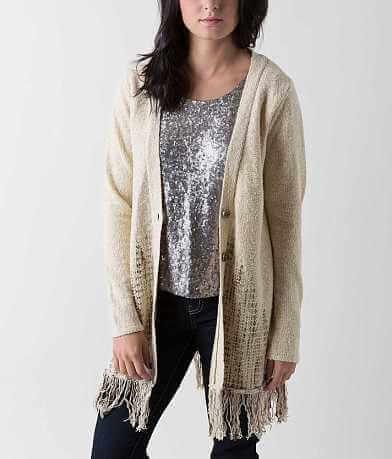 BKE Boutique Fringe Cardigan Sweater