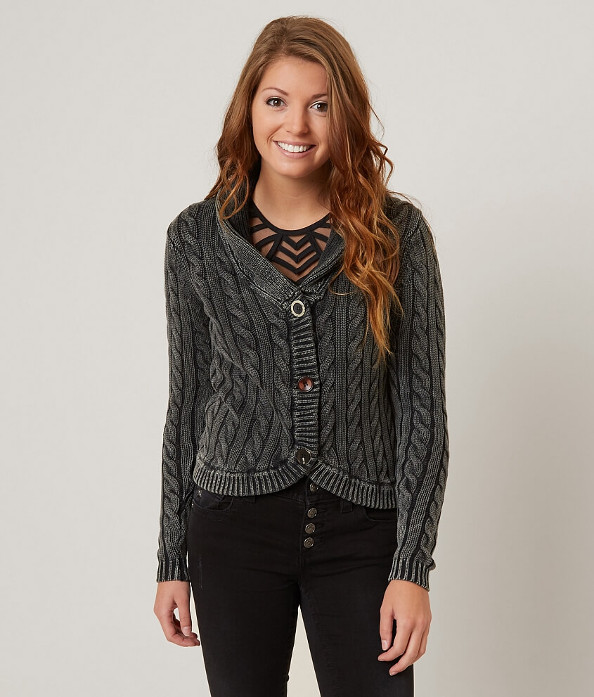 Gimmicks Cable Knit Cardigan Sweater - Women's Sweaters in Washed ...