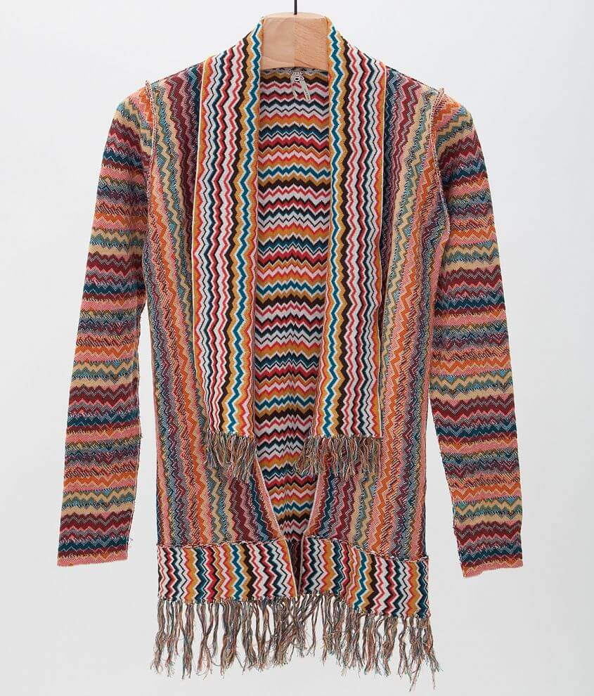Gimmicks by BKE Chevron Cardigan Sweater front view