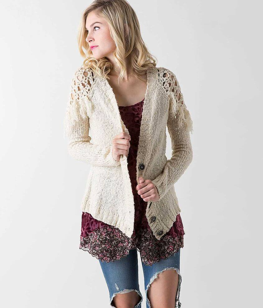 Gimmicks Open Weave Cardigan Sweater front view