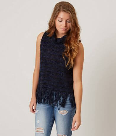 Gimmicks Cowl Neck Fringe Sweater