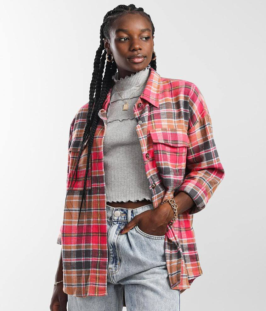 Gilded Intent Oversized Flannel Shirt front view