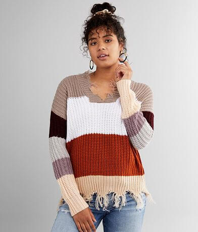 Daytrip Destructed Color Block Sweater