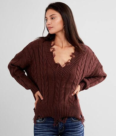 BKE Destructed Cable Knit Sweater