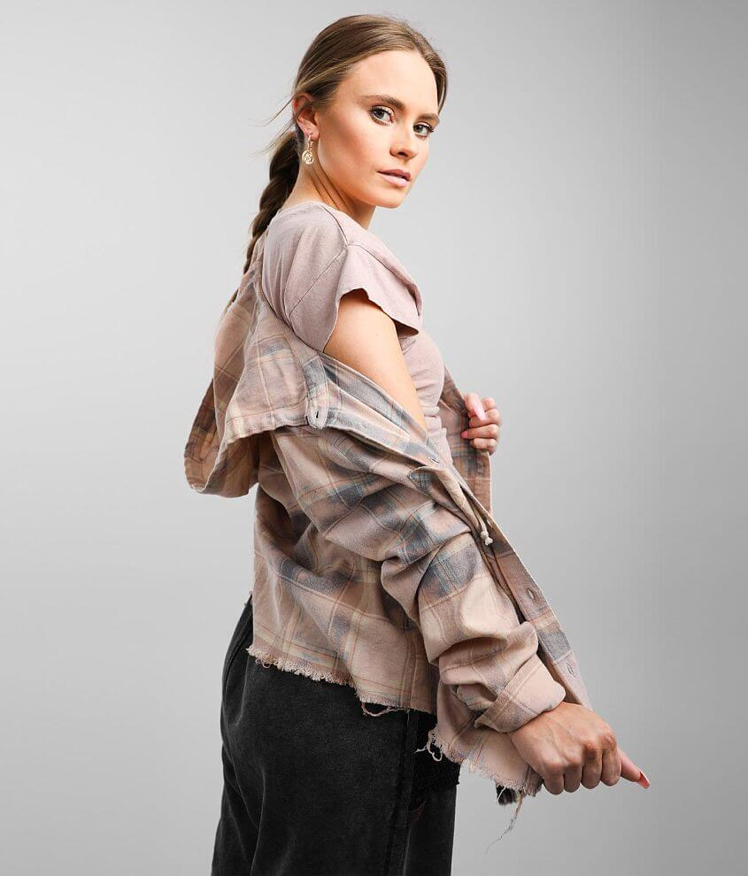 Gilded Intent Cropped Flannel Shirt front view