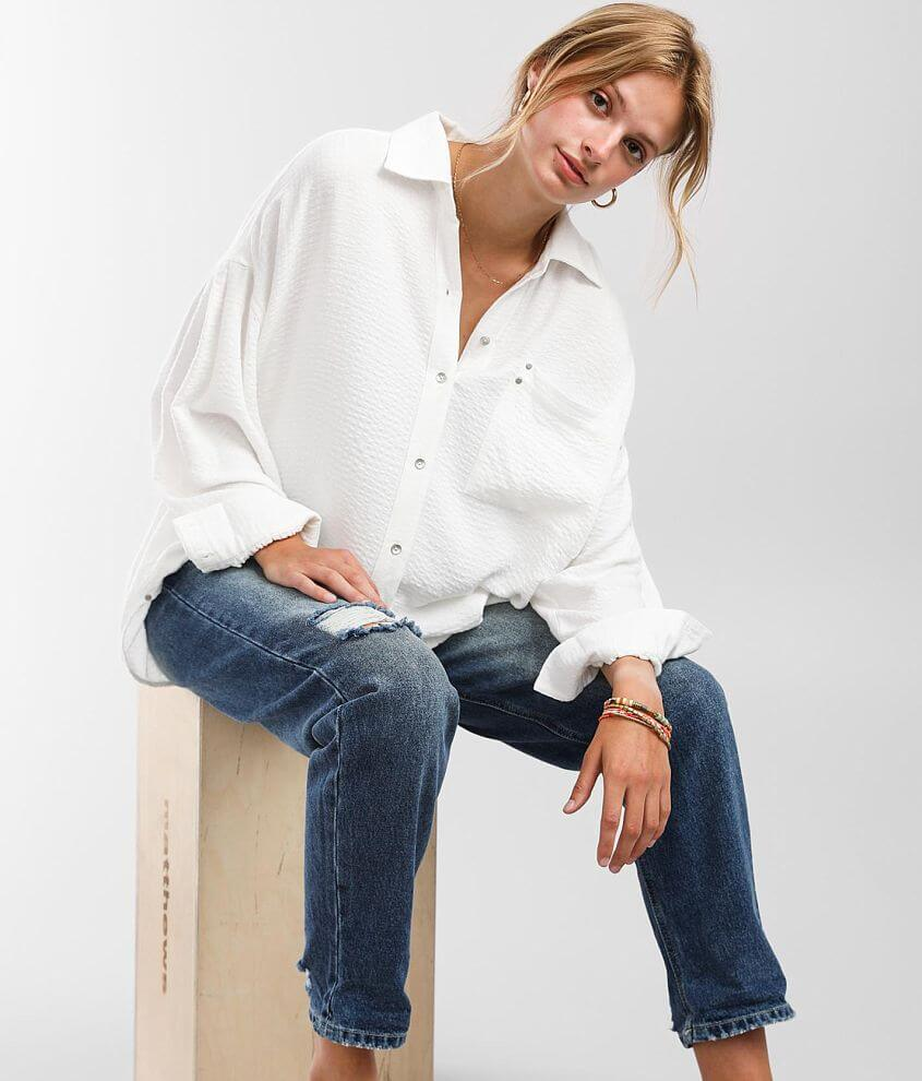 BKE Button Down Blouse front view