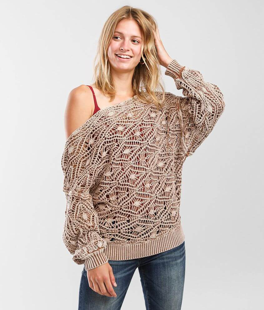 BKE Off The Shoulder Washed Sweater front view