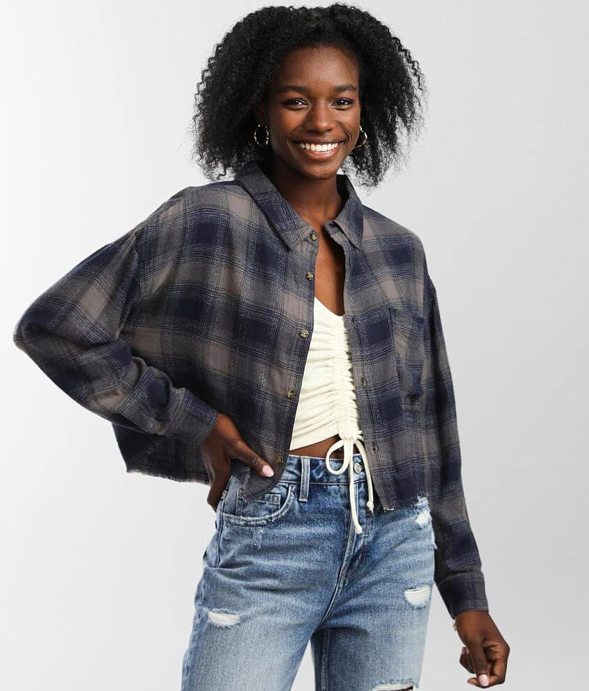 FITZ + EDDI Cropped Flannel Shirt front view