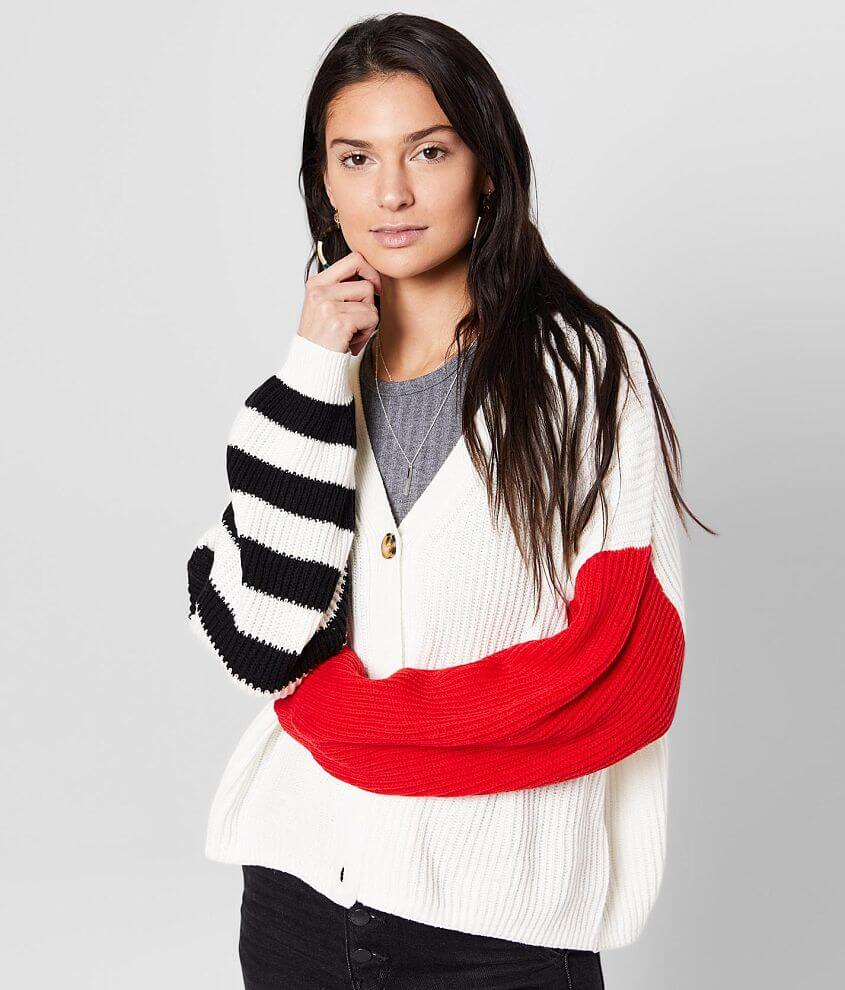 Willow & Root Color Block Cardigan Sweater front view