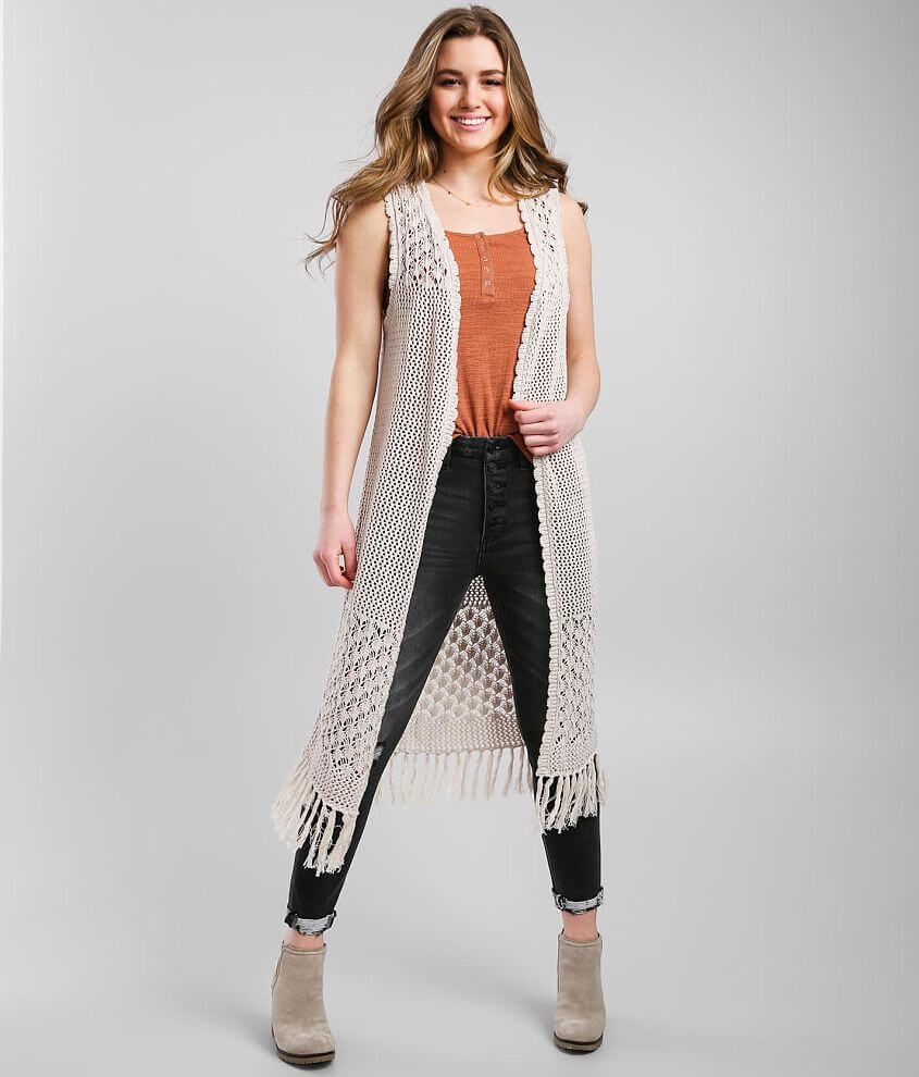 Daytrip Crochet Duster Sweater Vest front view