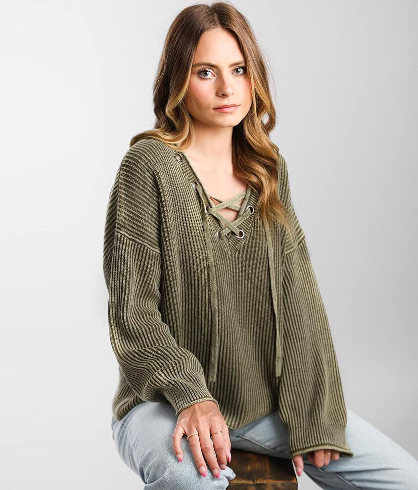 BKE Cable Knit Lace-up Hooded Sweater front view
