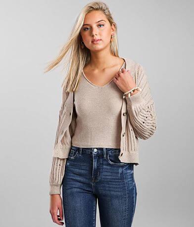 BKE Pointelle Tank & Cardigan Sweater Set