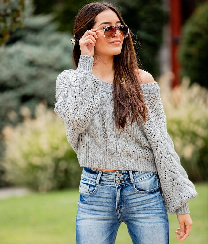 Willow & Root Pointelle Cropped Sweater front view