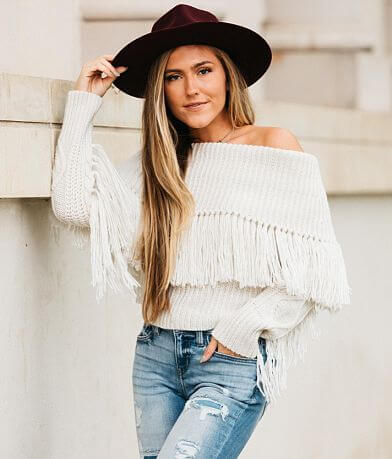 Willow & Root Off The Shoulder Fringe Sweater