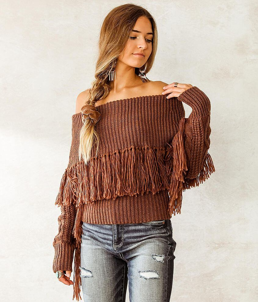 Willow & Root Off The Shoulder Fringe Sweater front view