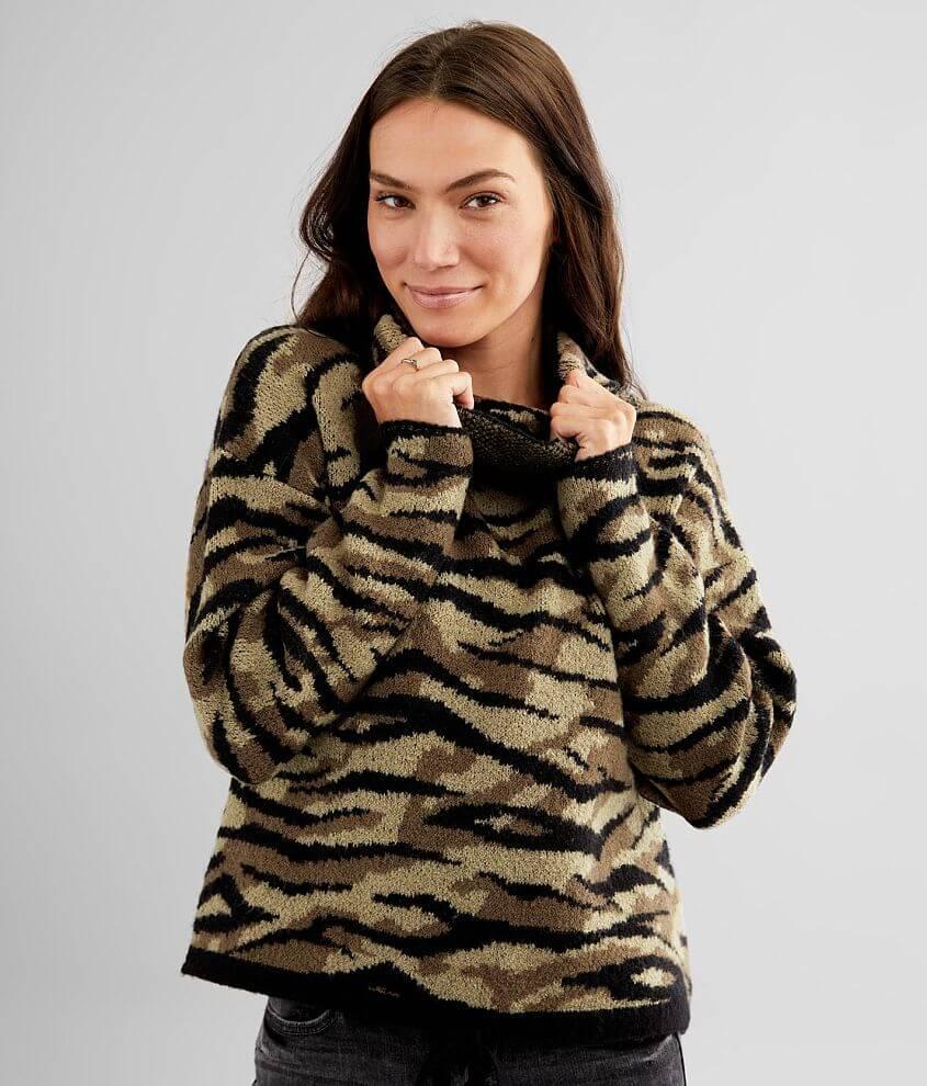 Daytrip Zebra Print Pullover Sweater front view