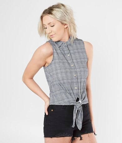 Polly & Esther Plaid Tank Top