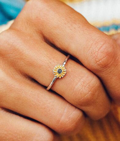 Pura Vida Enamel Sunflower Ring