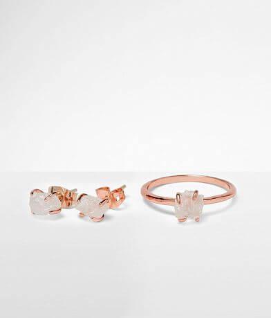 Pura Vida Raw Crystal Earring & Ring Set