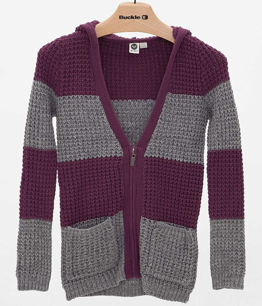 Roxy Rocky Stone Hooded Cardigan Sweater front view