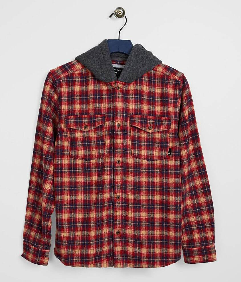 Boys - Quiksilver Hooded Plaid Shirt front view