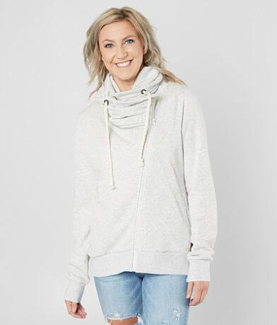 BKE Asymmetrical Cowl Neck Zip-Up