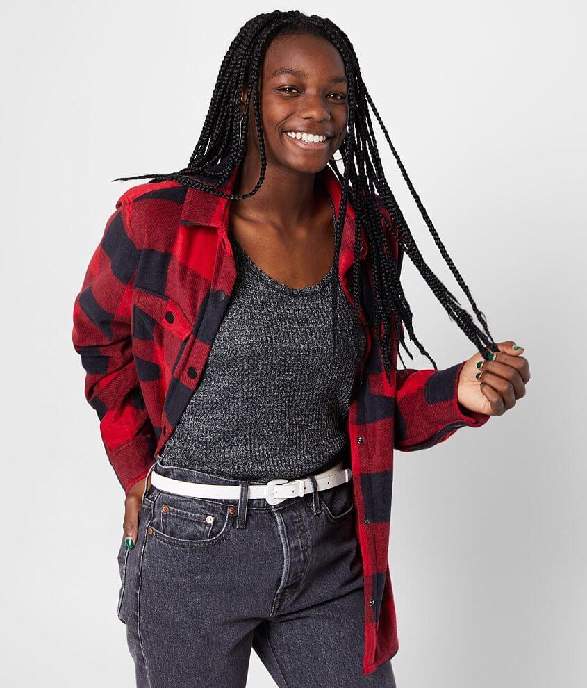 BKE Fleece Flannel Shirt front view