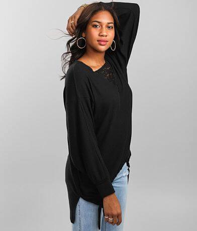 BKE Ribbed Lace Inset V-Neck Oversized Pullover