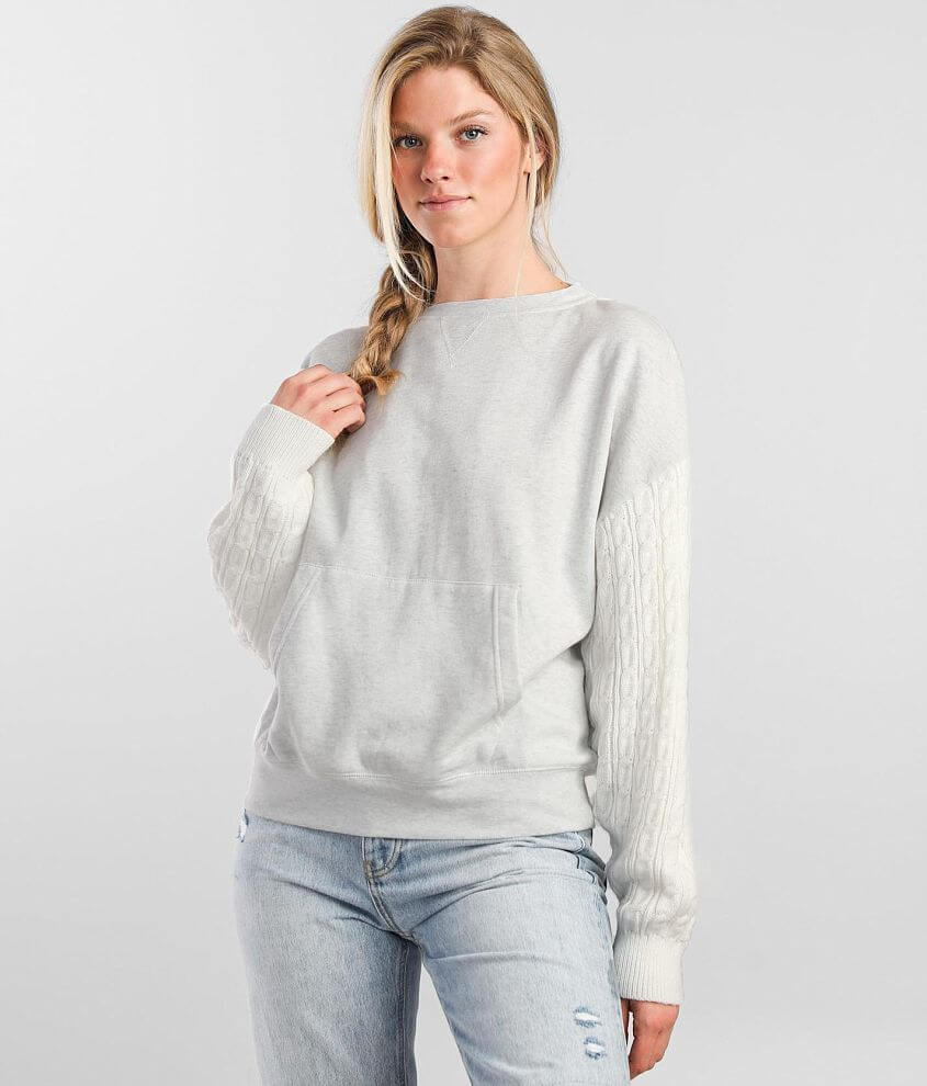 BKE Pieced Knit Pullover front view