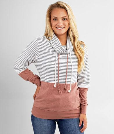 BKE Striped Color Block Cowl Neck Pullover