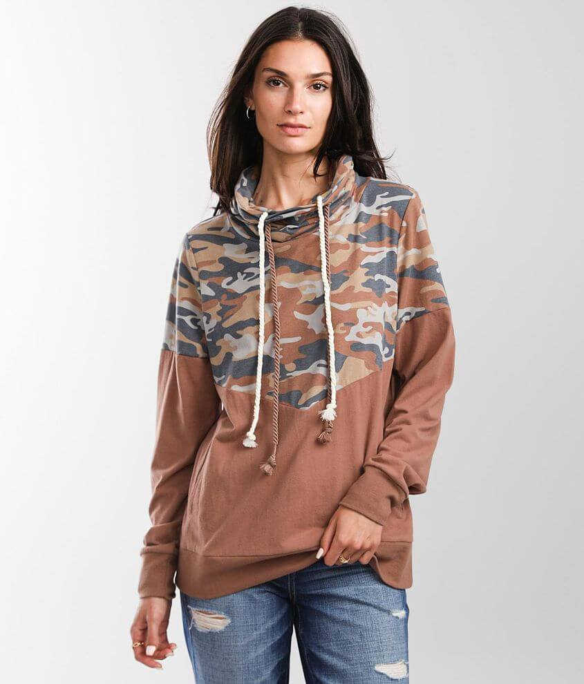 BKE Pieced Camo Pullover front view