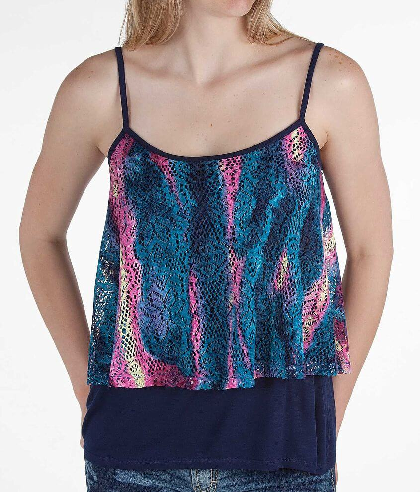 Daytrip Crochet Overlay Tank Top front view