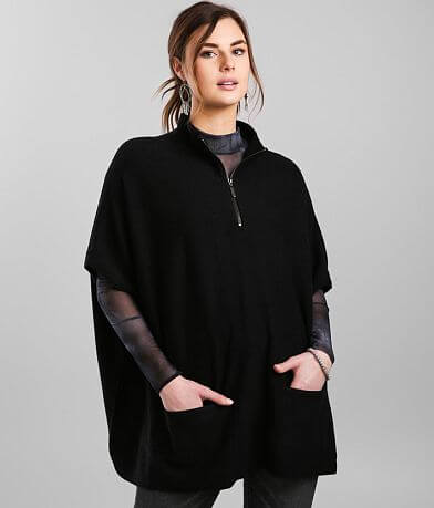 RD Style® Quarter Zip Poncho Sweater