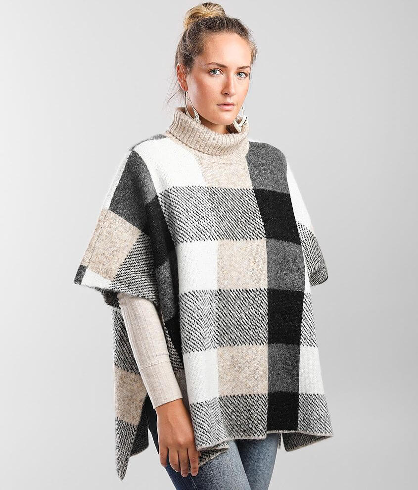 Buckle Black Plaid Poncho Sweater front view