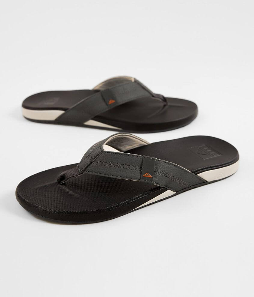 Embossed logo faux leather strap flip Arch support Anti-foot fatigue Cushioned footbed