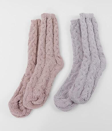 Muk Luks 2 Pack Cable Knit Socks