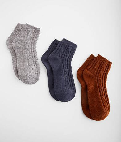 Muk Luks 3 Pack Brushed Knit Socks